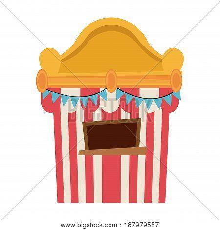 circus tickets sale kiosk. cartoon booth pennant vector illustration.