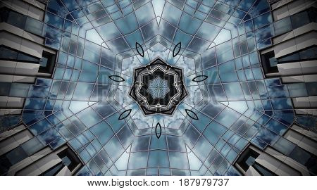 Abstract Photo Mandala Of Clouds And Reflections.