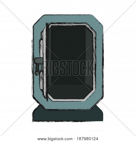 silver metal strong box open, vector illustration