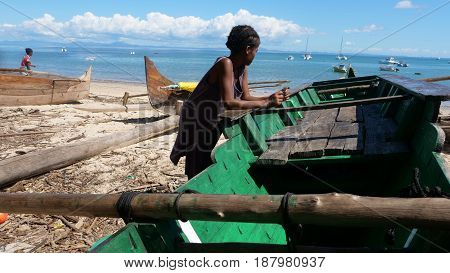 beach and boat in the island of Nosy-Be