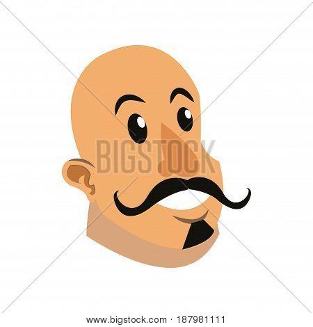 poster festival funfair head strong man vector illustration