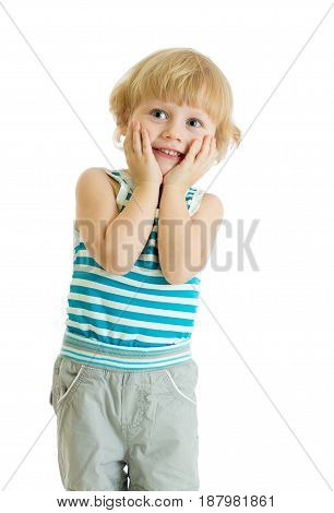 Surprised little boy with hands on cheeks isolated over white background