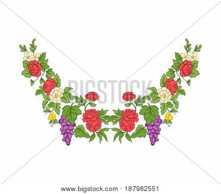 Embroidery for the collar line. Floral ornament in vintage style on a white background. Stock vector illustration.