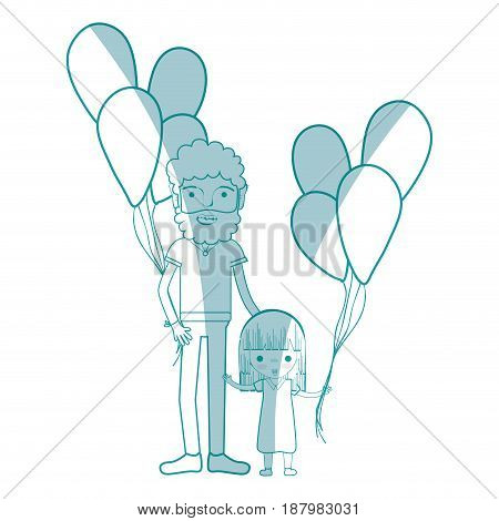silhouette man with his daughter and balloons, vector illustration