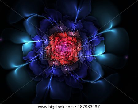 Bright abstract fractal Colorful flowers . Graphic element for design