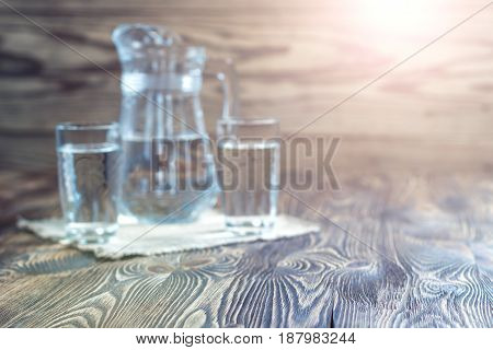 Rustic Background. Vintage Table And Glasses Of Water