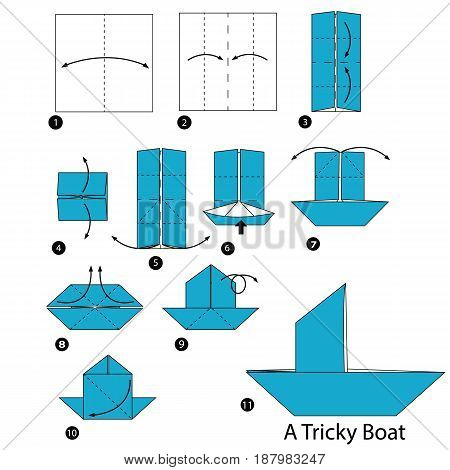 step by step instructions how to make origami A Tricky Boat.