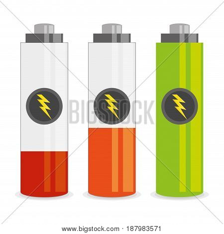 concept related with low, middle, and high battery energy, vector illustration