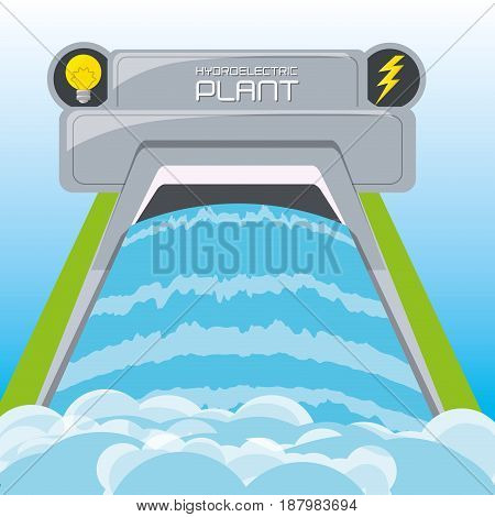 flat concept hydroelectry plant generator energy, vector illustration