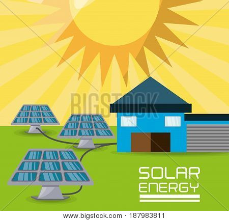 flat landscape releated with solar energy, vector illustration