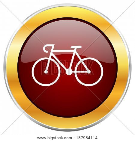 Bicycle red web icon with golden border isolated on white background. Round glossy button.