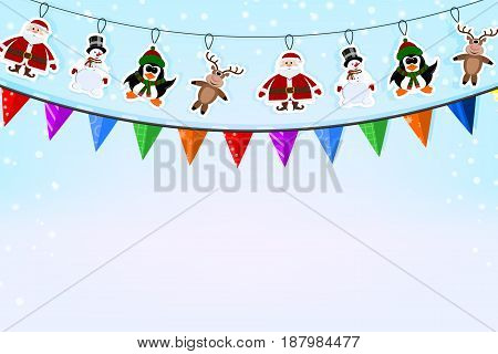 Christmas blue background with a garland of paper deer penguin Santa Claus and check boxes. Vector illustration.