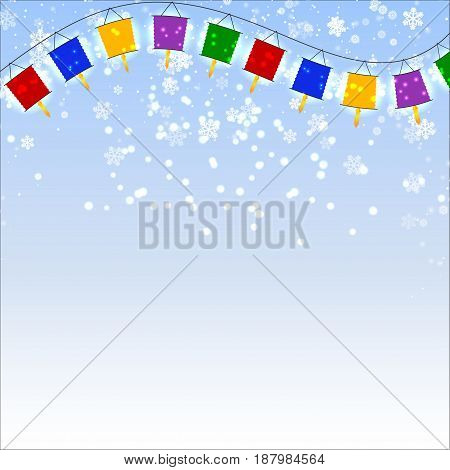 Winter blue background with snowflakes and garland of red Chinese lanterns. Vector illustration.