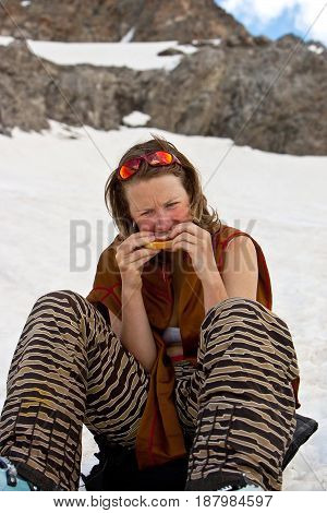 Lunch on the snow. Summer freeride Caucasus mountains Elbrus