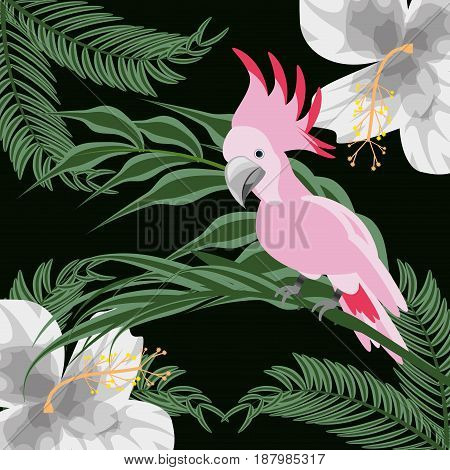 beautiful exotic pink cockatoo with palms and tropical flowers, vector illustration