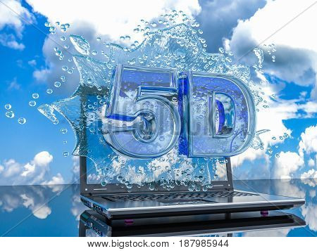 Splash water from the laptop screen with symbols 5d 3d render
