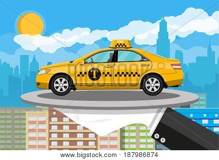 Driver hand with silver cloche serving yellow taxi cab car on plate. City skyline silhouette at day. Skyscappers, towers, buildings. Taxi service concept. Vector illustration in flat style