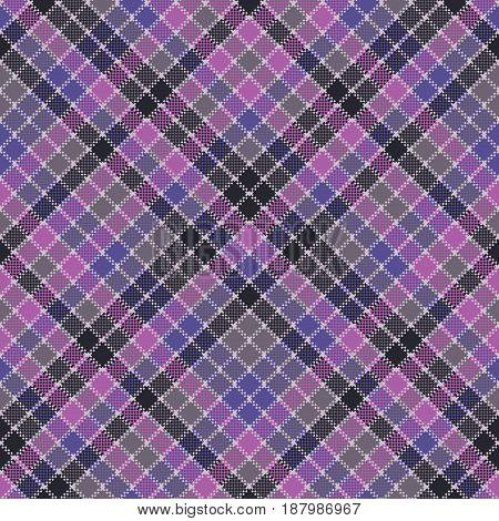 Blue purple check mosaic plaid seamless fabric texture. Flat design. Vector illustration.