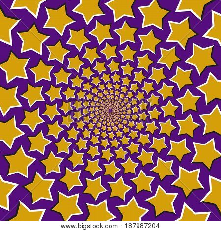 Optical motion illusion vector background. Yellow five pointed stars fly apart circularly from the center on blue background.