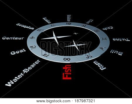 The zodiac with the twelve zodiac signs (character