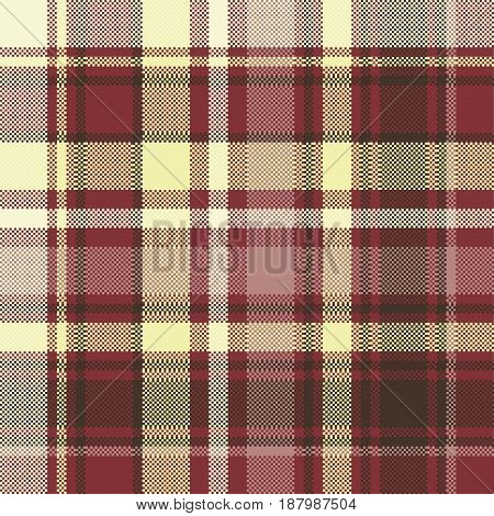 Brown check plaid seamless pixel fabric texture. Vector illustration.