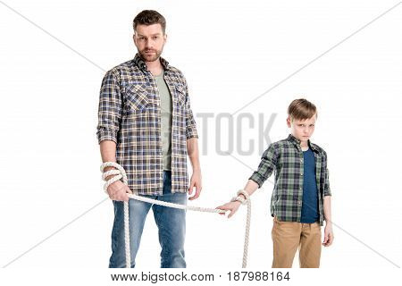 Father And Son Holding Rope Isolated On White, Family Problems Concept