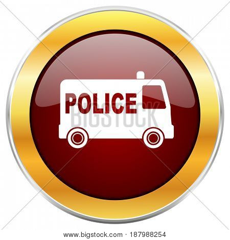 Police red web icon with golden border isolated on white background. Round glossy button.