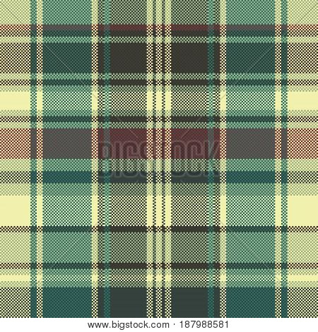 Check pixel seamless pattern fabric texture. Vector illustration.