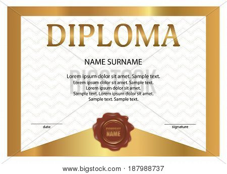Diploma or certificate with wax seal. Golden template with watermark. Vector illustration.