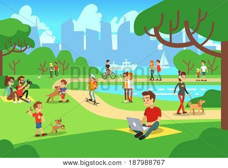 People in city park. Relaxing men and women outdoor with smart phones vector illustration. Urban green park with people relax