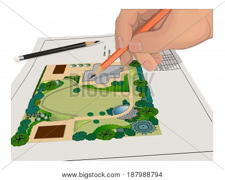 Hand, Pencils, general plan Isolated on white background