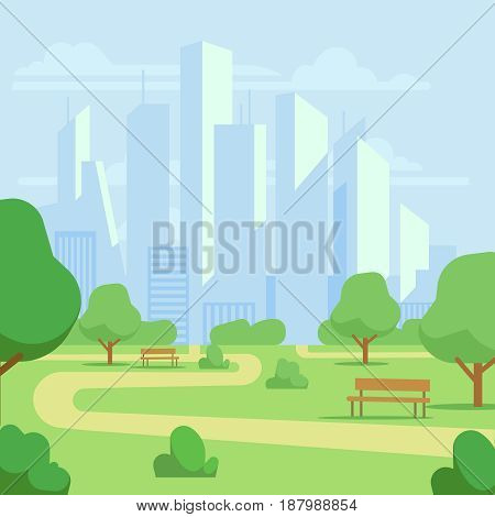 Cartoon public city park with skyscrapers cityscape vector illustration. Green park landscape, scenic natural park with green field