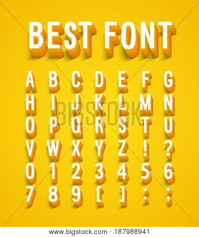 Creative font with shadow effect. Vector illustration.