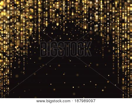 Abstract gold glitter lights vector background with falling sparkle dust. Luxury rich texture. Effect shine dust background illustration