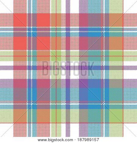 Color pixel check plaid seamless pattern. Flat design. Vector illustration.