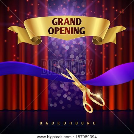 Grand opening vector concept with red curtains. Grand event open with red curtain and cut ribbon illustration