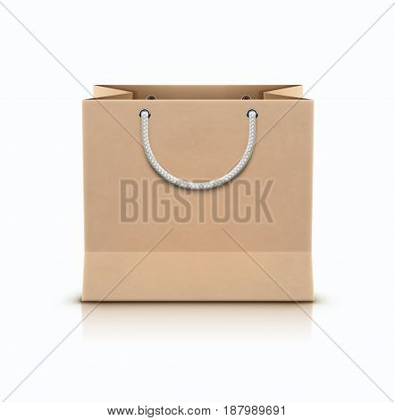 Vector illustration of paper shopping paper bag with rope handles isolated on white background