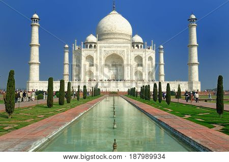 White marble Taj Mahal in India Agra Uttar Pradesh