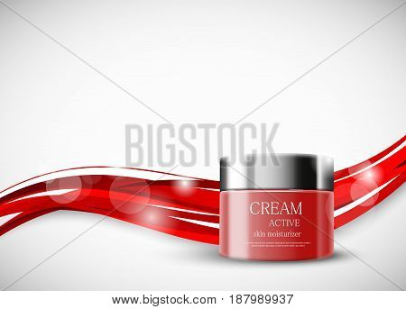Skin moisturizer cosmetic ads template with red realistic container on wavy bright dynamic elegant lines background. Vector illustration