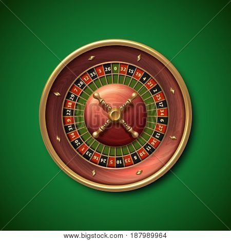 Las Vegas casino roulette wheel isolated vector illustration. Gambling fortune game, illustration of roulette bettings
