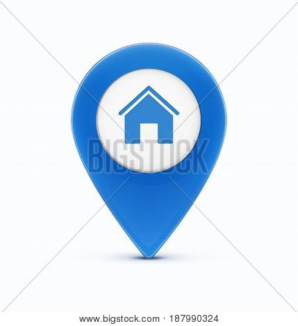 Vector illustration of glossy blue map location pointer icon with house icon