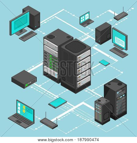 Data network management vector isometric map with business networking servers, computers and device. Server data information map illustration