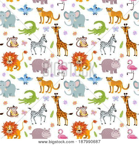 Children seamless vector wallpaper with cute and funny baby savanna animals elephant, alligator and hippo, illustration of africa animals