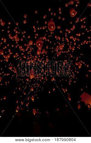 Floating Lantern In Yee Peng Festival (loy Krathong), Buddhist Floating Lanterns To The Buddha In Sa
