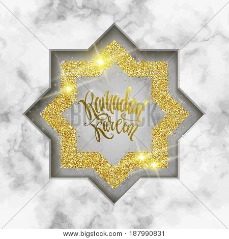 Vector holiday illustration of shiny Ramadan Kareem label on marble background. Lettering composition of muslim holy month