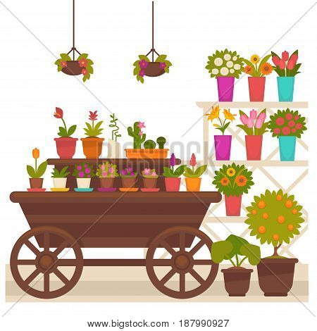 Vector illustration of different potted flowers placed on the wagon isolated on white.
