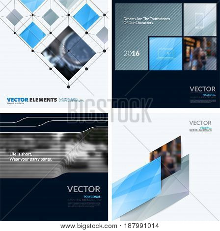 Business vector design elements for graphic layout. Modern abstract background template with grey blue squares, triangles, diagonal geometric shapes for tech in clean minimal style.