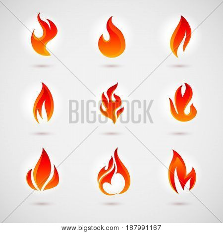 Fire Icons Set. Colorful Flames in the Flat Style. Simple Icons Bonfire