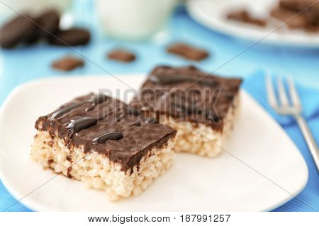 Delicious crispy dessert with chocolate on plate