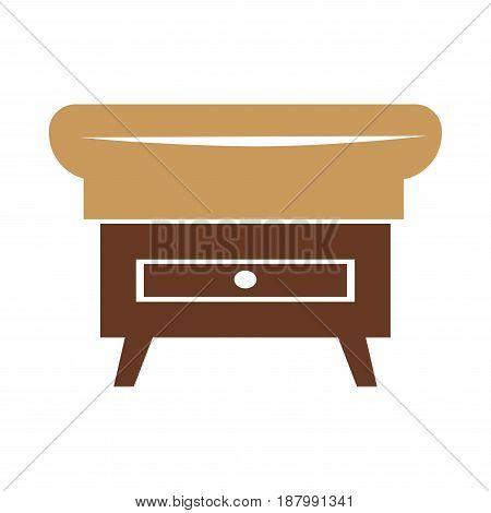 Vector illustration of a small stand with box and place to seat.
